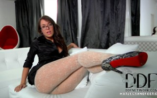 Russian Knockout Mila L. Teasing Us In Lacy White Pantyhose