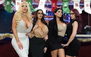 Office Christmas bonuses with Ava Addams, Monique Alexander, Nicolette Shea & Romi Rain