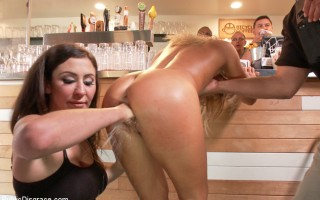 Blond tease paraded around with a fist is her pussy. Ass pounding, face fucking, humiliating fun!
