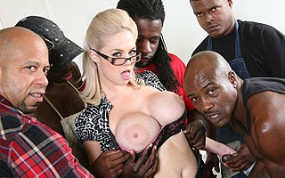 We've started off 2011 with a bang........a gangbang, that is! Katie Kox is married to a white guy whose small cock is made up with a huge bank account. The husband is out of town on business and left his bra-busting little woman in charge of 5 blue colla