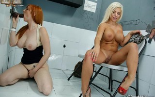 Bored wives Lauren & Sara in search of a glory hole