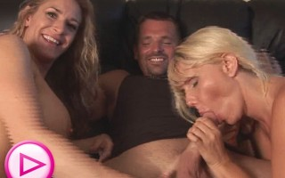 Blonde big melon MILF suck cock with big tit MILF Friend