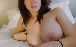Nice woman with big boobs topless on cam