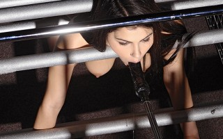 Brunette Caged & Banged By The Fucking Machine In All Holes