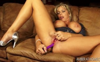 Horny MILF Amber Lynn Bach takes care of her sexual needs alone.