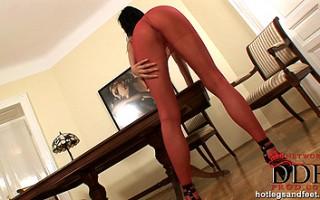 Sexy Nikita Black sniffing heels in pantyhose & masturbating