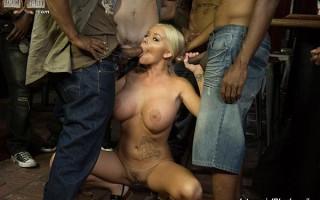 Busty blonde Rachele Richey sucks and deepthroats black cocks