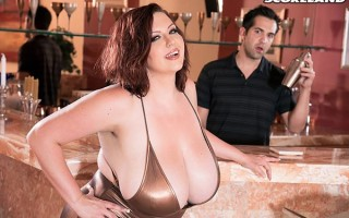 Fucking Paige Turner's humongous boobs at the bar