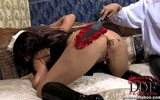 Nasty maid Lisa spanked hard in latex after dildoing pussy