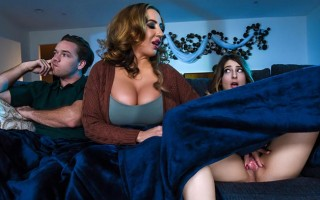 Busty stepmom Richelle Ryan joins in with her son and girlfriend