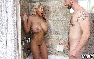 Busty jogger Bridgette B gets anal fuck in the shower