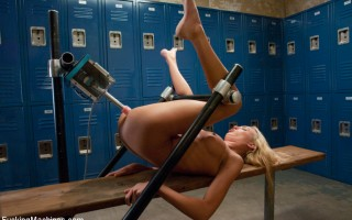 Victoria White - blond, thin, perfect cupsize tits, long legs and sexy ass, stretches out her pussy and ass with FuckingMachines in the locker room.