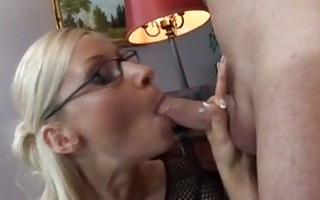 Blonde secretary with glasses takes it in pussy and ass