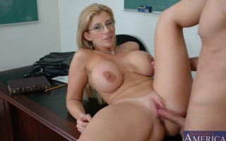 Sara Jay has hot sex with one of her students right on her desk.