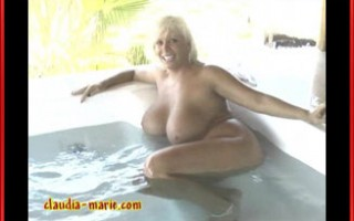 Claudia-Marie gets naked in a jacuzzi in Mexico.