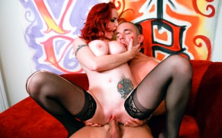 pink haired babe with huge tits shows them off while fucking
