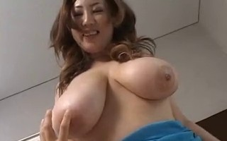 busty japan girl plays with two gys and her big tits