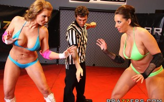 All you need to get your dick rock hard is big tits, big asses and two hot sluts wrestling each other! Locked in a cock cage match, these ass slamming whores can't keep james from becoming part of this big dick action event!