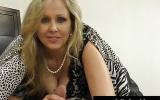Cock Craving Cougar Julia Ann Gives Lucky Cock Handjob & BJ!