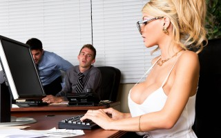 Danny D and his asshole friends are always giving Kayla Kayden a hard time just because she's got big tits and gorgeous long legs. But when their boss takes off for a week and leaves Kayla in charge, she decides she's going to make Danny pay her back in f