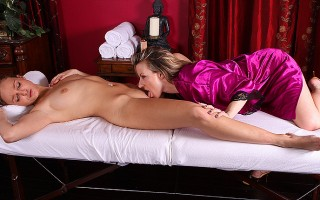 Anne is so into it, she cums hard as Carolyn licks her clit