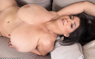 Lara Jones and her magic tits on the couch