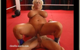 Claudia-Marie Gets Her Big Saggers Worked Over In A Boxing Ring