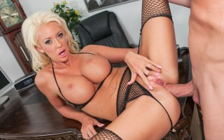 Big boobed Courtney Taylor fucked in all holes in an office.