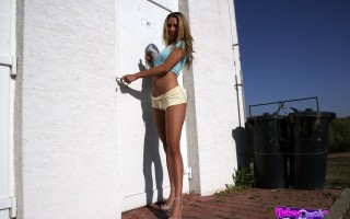 Long legged babe visits a big gloryhole erection to fuck