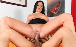 That dark haired milf with big boobs get fucked the real way