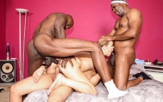 Slutty Shani Reid is gang banged by three big black cocks.