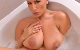 Sensual Bathroom Show - Hot Busty Babe Masturbates in Bathtub