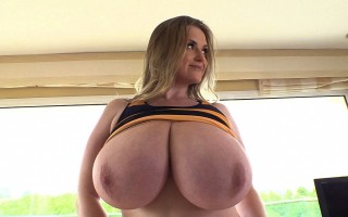 Maria Body huge natural breasts in Halloween stripes