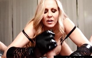 Handjob Hottie & Milf Julia Ann Jacks Off Cock With Gloves!