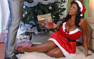 Busty Black Babe Maserati Gets A Creamy Gift On Her Melons