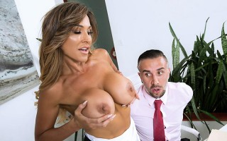 busty wife Aubrey Black fucks husband's employee