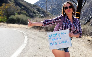 Krissy Lynn was hitchhiking across America, using her big tits to get rides, when Mick Blue pulled over to pick her up. She was in the car for less than five minutes before she started being disrespectful and annoying, making Mick pull over to kick her ou