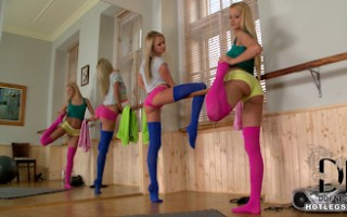 Cherry Kiss & Ivana Sugar Streching Out In Thigh High Socks