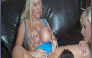 Blonde MILF with big tits gets her wet pussy eaten by dude.
