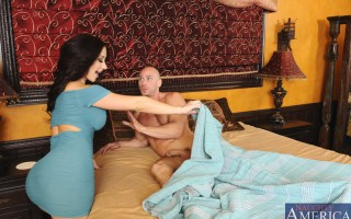 Gorgeous and busty Jayden Jaymes is horny and wakes up her friend's husband to find he is naked and ready to fuck her with his big cock.