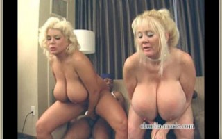 Fake tit Kayla Kleevage and huge saggers Claudia-Marie have their assholes gaped by black cock