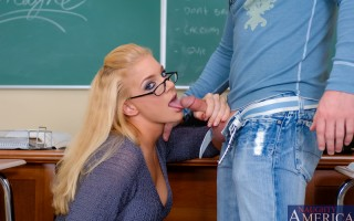 Professor Mayne notices that Jack hasn't been motivated in class lately, so she whips out her big yummy breasts for him to suck on. And if she gives him her pussy to fuck, he has to promise to step up and get an A because that's what a great teacher she i