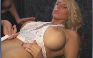 Big tit blonde gets pussy pounded by MILF with drilldo.
