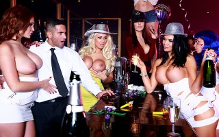 After a wild night of popping bottles of champagne all over their luscious big titties, all busty babes Brooklyn Blue, Emma Leigh, and Jasmine Jae need to properly ring in the new year is a good fucking from a nice fat cock. Luckily for them, the bartende
