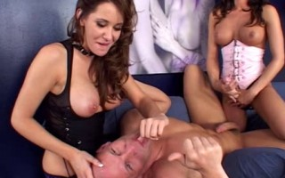 Willd angels fucking a guy with strapon
