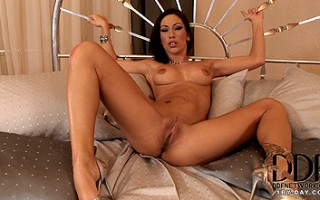 Sexy babe Mya strips and plays with her wet pussy and clit