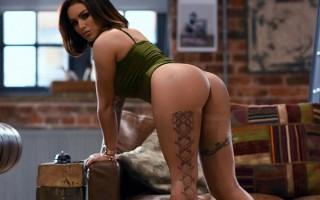 Gemma Massey in green bodysuit photos