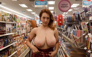 Busty natural babe Kelsey Berneray naked in public