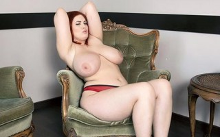 Voluptuous redhead Alexsis Faye in red undies