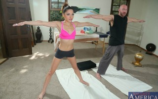 Evilyn Fierce is taking yoga lessons and her instructor is very hands on. He wants to make sure she exercise the right way. He knows how to put her in the proper positions to make her body feel good. He makes her feel so good that she returns the favor an